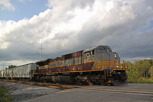 The tree shadows play on the engineer's side of CP 7014