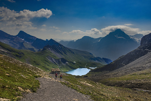 My Switzerland. ; The Schwarzhorn , the Bachalpsee and the Wetterhorn. Canton of Bern, Switzerland. No. 0219.