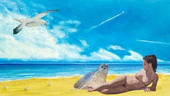 Collage Nude on the Beach with Seagulls and Seal No 3
