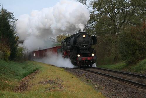 2008-11-01; 0004. Dampf-Plus GmbH 52 8079-7 met WEG 41. Hermannstraße, Bad Salzungen. Plandampf 2008, Dampf trifft Kies.