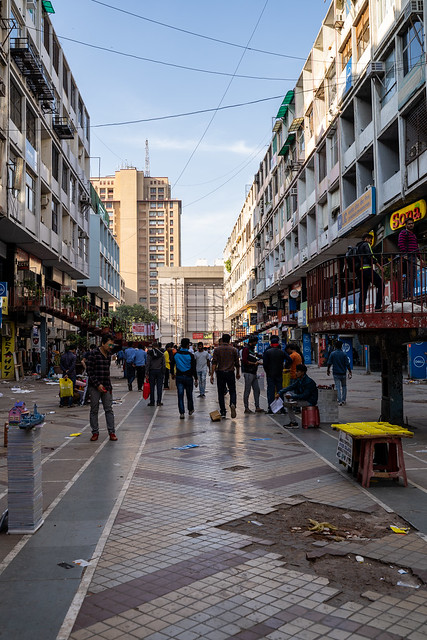 New Delhi, India - November 17, 2019: Portrait view of Nehru Place, a market filled with electronic goods, cell phone accessories and clothing
