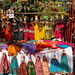 New Delhi, India - November 17, 2019: Dolls and decorations for sale at Dilli Haat, an outdoor craft market bazaar showcasing handmade items from each Indian state