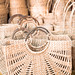 Woven baskets for sale at Dilli Haat New Delhi India, a market filled with colorful handicrafts and handmade items