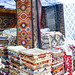 New Delhi, India - November 17, 2019: Rugs sold at a booth in Dilli Haat, an outdoor craft market bazaar showcasing handmade items from each Indian state