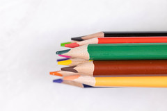 Pile of Colorful Wooden Pencils with copy space