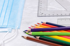 Wooden Colorful pencils with Rulers and surgical masks for virus protection