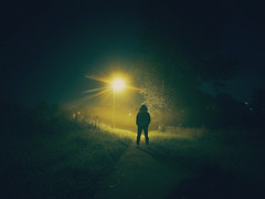 Walking in the fog at night