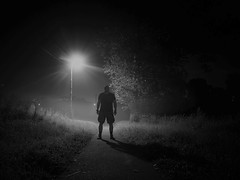 Walking in the fog at night_