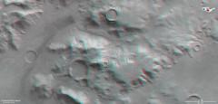 Stereoscopic view of the Nereidum Mountain Range on Mars