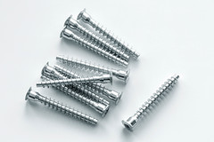 Chrome screws for mounting, top view