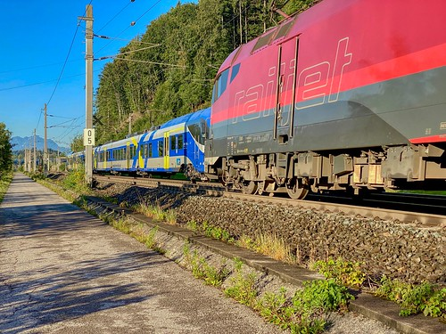 ÖBB railjet encountering Meridian regional express train between Kiefersfelden and Kufstein in Tyrol, Austria