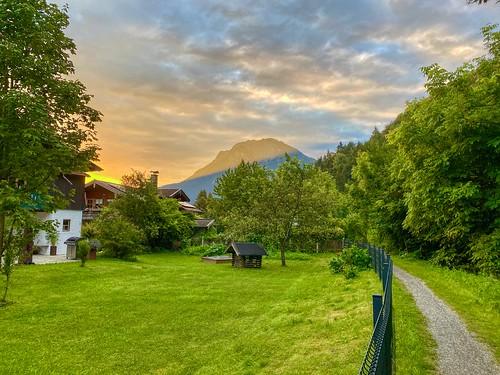 Kiefersfelden with Zahmer Kaiser mountains basking in the morning sun in Bavaria, Germany