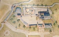 plan de l'Abbaye deLiessies affiché dans l'église Sainte Hiltrude (Nord - france)
