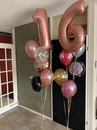 Ballonboeket Verjaardag 16 Jaar Sweet 16 Rosegoud