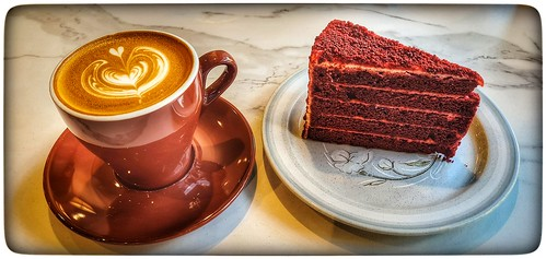 Flat white coffee with 'Red Velvet Cake'