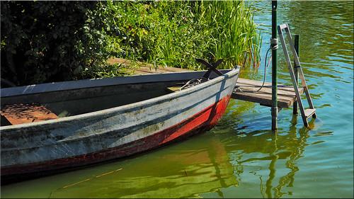 Fishing boat on Passader Lake in Holstein