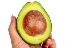 Half a fresh avocado in a woman's hand