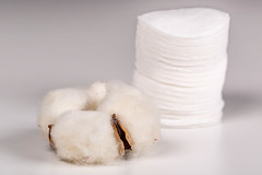 Cotton flower and cotton pads, natural hygiene products concept