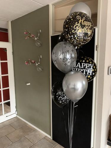 Ballonboeket Verjaardag Goud Zilver Zwart