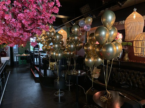 Tafeldecoratie 6ballonnen Chrome Goud Luster Rotterdam