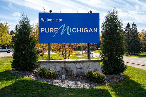 Ironwood, Michigan - October 18, 2019: Welcome to Pure Michigan sign on the MI / Wisconsin border in the upper peninsula
