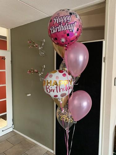 Ballonboeket Verjaardag Roze