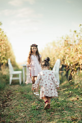 Two girls walking towards eachother in the vineyard.