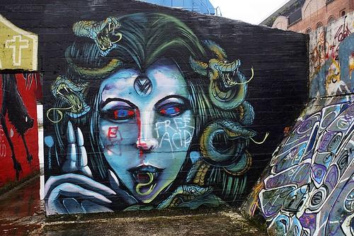 'Snake Woman'/ 'Medusa', Street Art, Ghent, Belgium