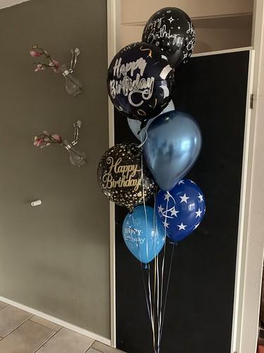 Ballonboeket Verjaardag Zwart Goud Blauw