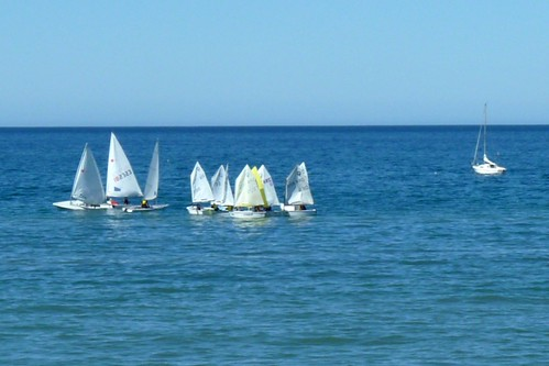 One Sailboat Excluded from Group, Puerto Madryn, Argentina