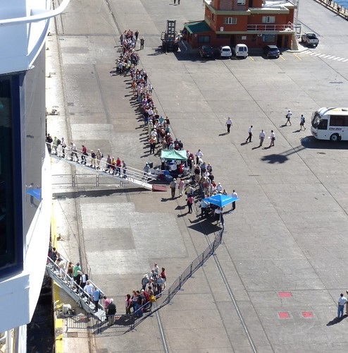 People Returning to Cruise Ship after day in Puerto Madryn, Argentina