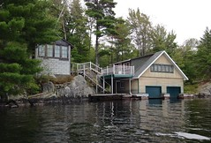 Former Moore boathouse and cabin