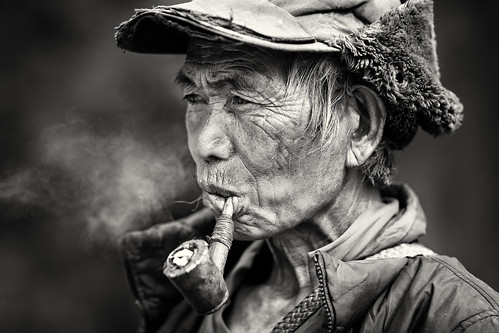 Myanmar, old man in Chin State