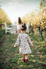Girl in a dress standing on the vineyard walkway.