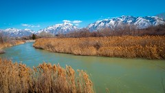 The Jordan River and the Wasatch Range, Salt Lake Valley, Utah