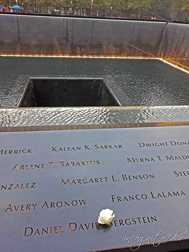 Never Forget 9/11 Memorial North Pool WTC World Trade Center Lower Manhattan New York City NY P00647 20181019_173748