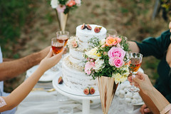 People cheering with their drinks above the cake.