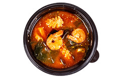 Asian seafood soup, top view