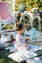 Young girl having a picnic in the vineyard.