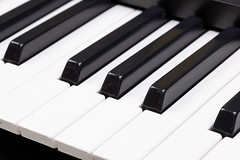 Black and White Piano keyboard closeup image