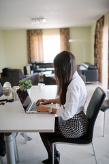 Attractive young woman working on laptop in her modern office.