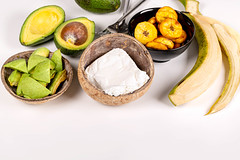Ingredients for making plantain with avocado and cottage cheese
