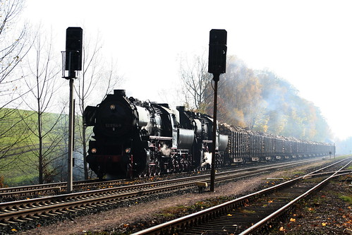 2008-11-01; 0033. VL EMBB 52 8154-8 en ZL Dampf-Plus GmbH 52 8079-7 met WEG 49, ex Railion 60175. Marksuhl. Plandampf 2008, Dampf trifft Kies.