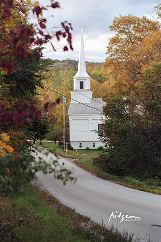 First Congregational Church, looking north along N Ridge Road near intersection with Route 65, Brookfield, Vermont