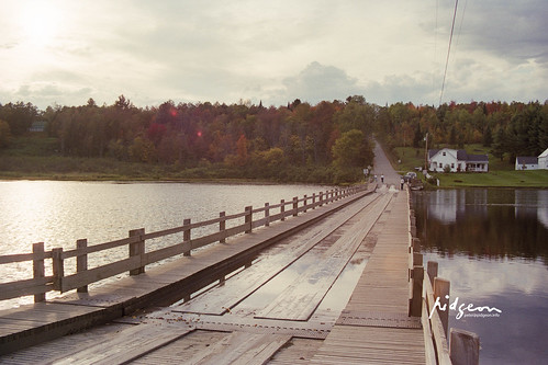 Floating Bridge, Brookfield, VT. Buoyed by a network of 380 barrels that rise and fall with the water level