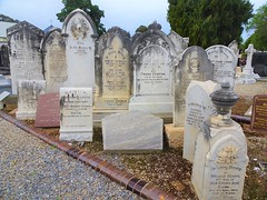 Adelaide. Payneham, cemetery. At the end of each row of graves  old headstones are gathered close together to preserve them.