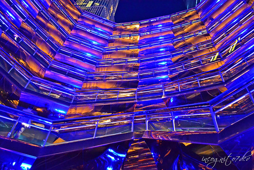 Alien Spaceship - The Vessel Reflections at Night Hudson Yards Manhattan New York City NY P00650 DSC_2656