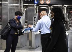 MTA Chairman Pat Foye Distributes Masks on NYC Transit Subways