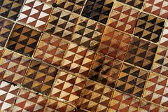Old ceramic floor tiles - Winchester Cathedral, Winchester, Hampshire, England.