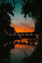 Bridge at night in Petrovac na Mlavi.